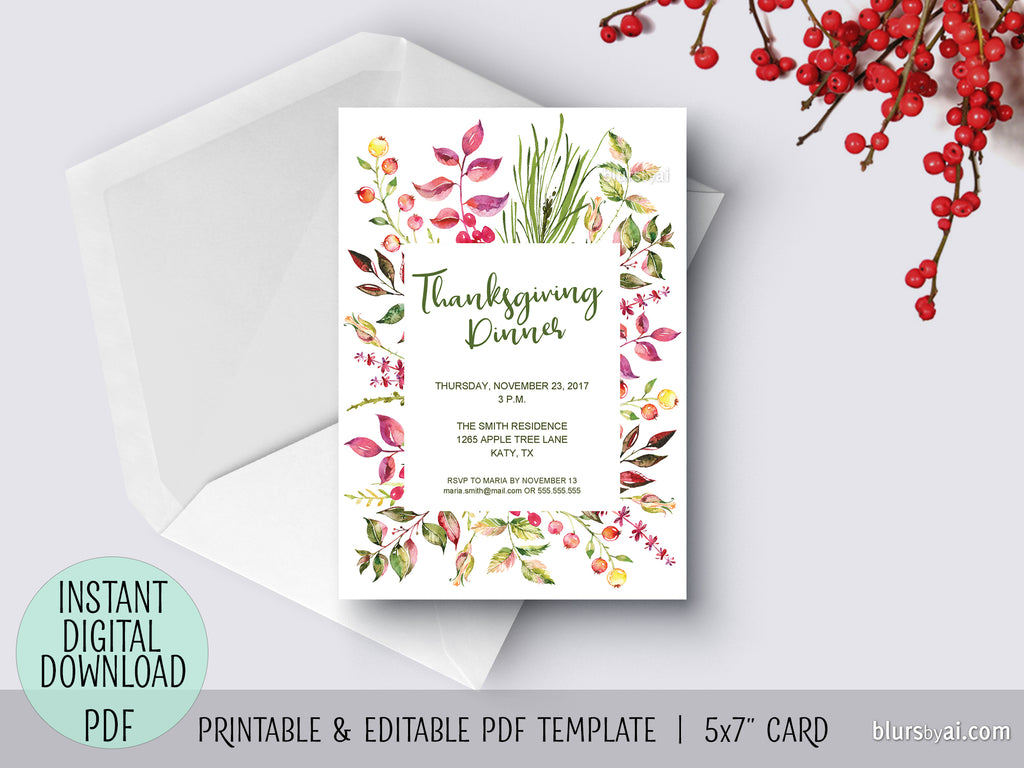 editable pdf thanksgiving invitation template floral thanksgiving