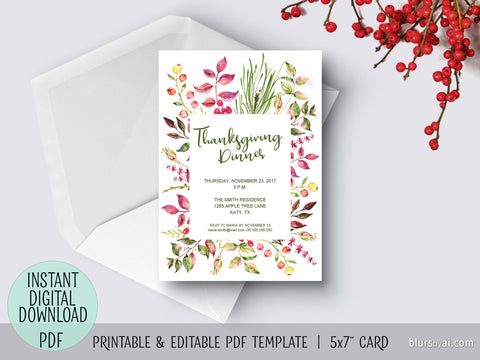 Editable pdf Thanksgiving invitation template: Floral Thanksgiving dinner