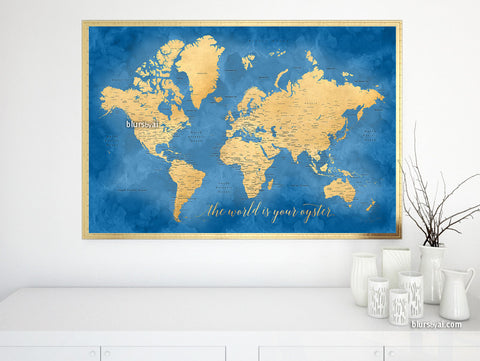 "Printable cobalt blue and gold world map with cities, 36x24"", the world is your oyster"