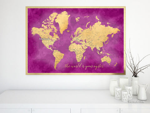 "Printable hot pink and gold world map with cities, 36x24"", the world is your oyster"