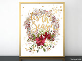 Tis the season, printable Christmas decor, red and gold wreath