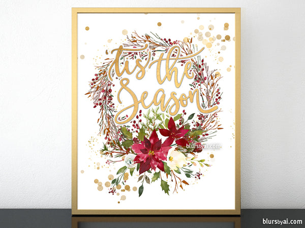 photograph relating to Wreath Printable named Tis the year, printable Xmas decor, pink and gold wreath
