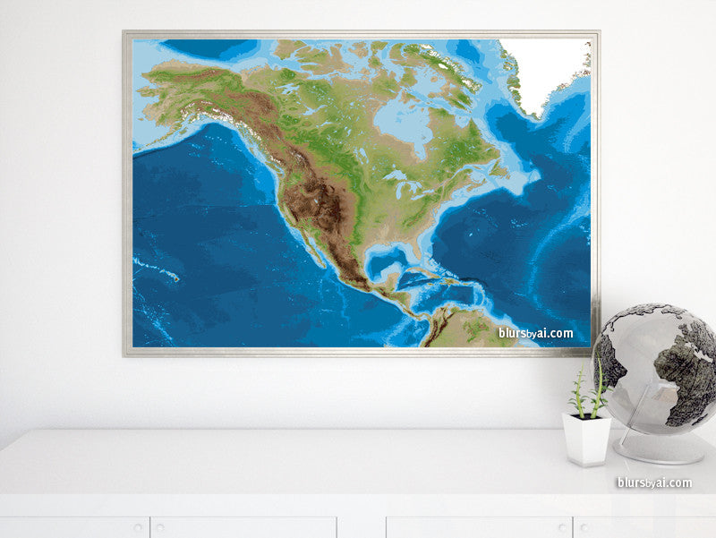 "Printable topographic map of North America, 36x24"" - For personal use only"
