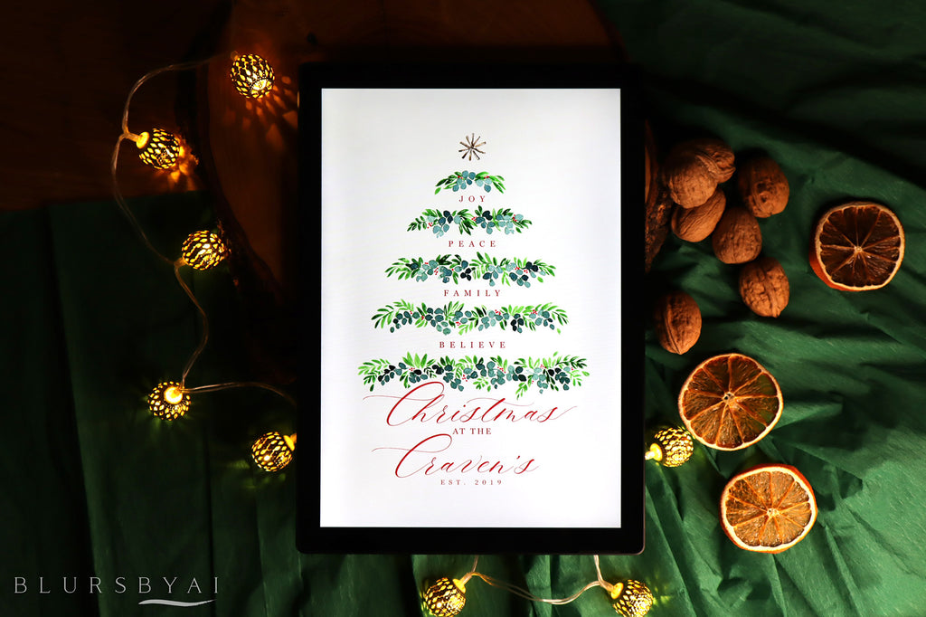 "Custom family name art print - ""Watercolor greenery Christmas tree"""