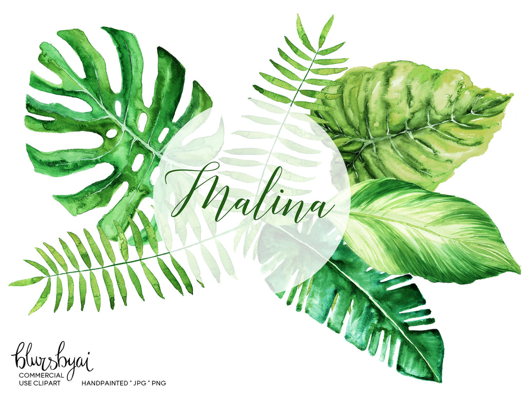 watercolor tropical leaves monstera clipart palm clipart blursbyai
