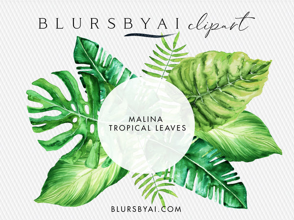 Watercolor Tropical Leaves Monstera Clipart Palm Clipart Blursbyai Check out our tropical leaves clipart selection for the very best in unique or custom, handmade pieces from our craft supplies & tools shops. blursbyai