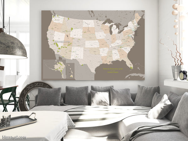 "60x40"" Printable map of USA with national parks and protected areas labelled"