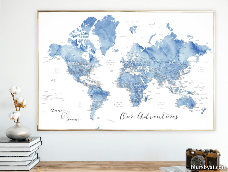 "Personalized art print on paper: detailed world map with cities in soft blue watercolor. ""Vance"""