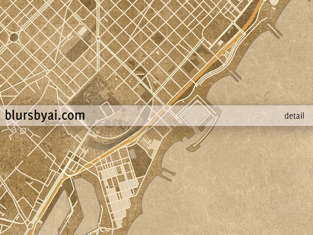 picture relating to Printable Map of Barcelona identify Printable map of Barcelona, Spain, in just sepia classic design and style
