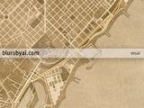 Printable map of Barcelona, Spain, in sepia vintage style