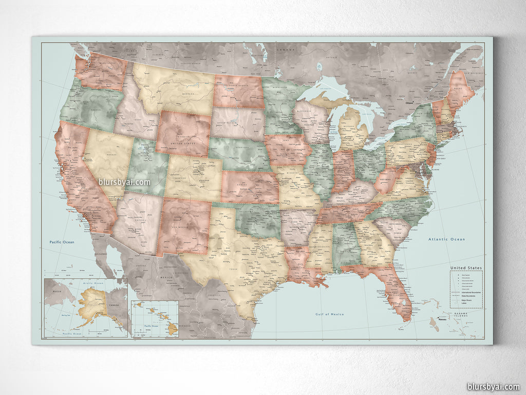"Custom vintage inspired watercolor USA map with cities, canvas print or push pin map. ""Michel"""