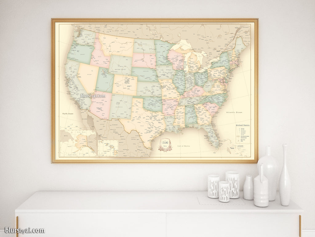 Custom print: map of the United States with cities in vintage style. on united states map poster, united states map color, united states map 1860,