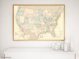 "Custom print: map of the United States with cities in vintage style. ""Librarian"""