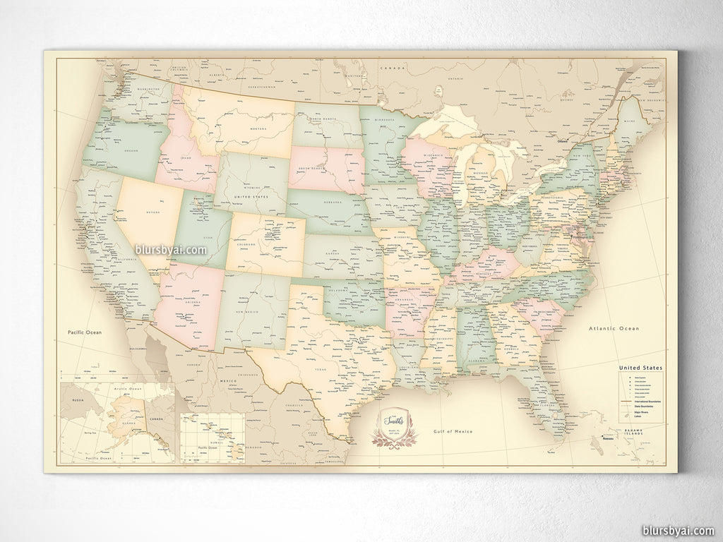 Custom vintage looking USA map with cities, canvas print or push pin ...