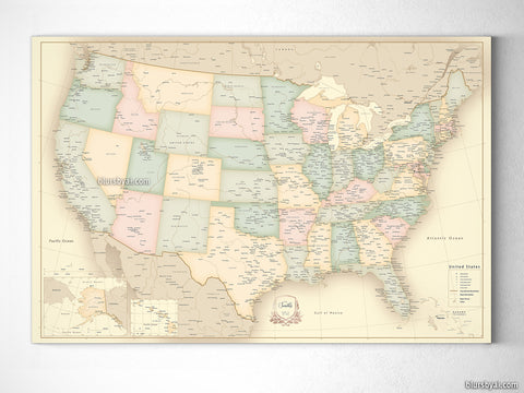 Map prints: USA map prints, canvas prints & push pin maps
