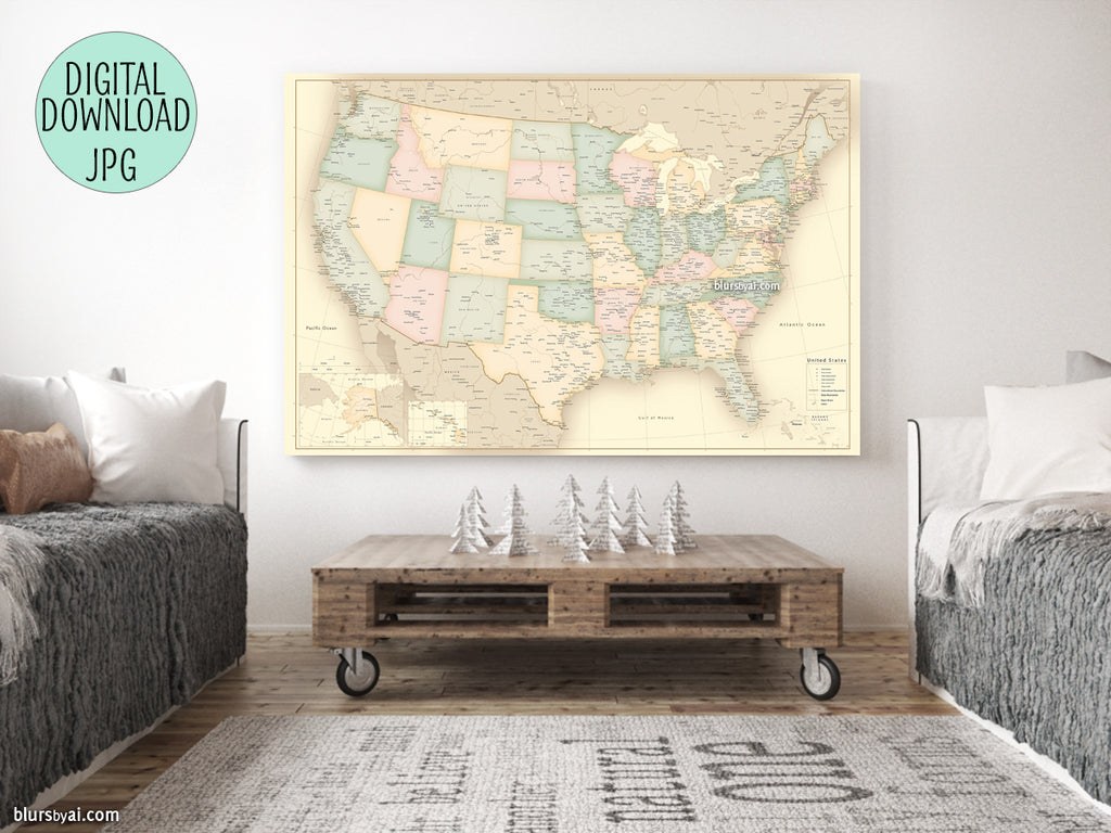 Vintage looking current map of the USA printable file, large 36x24""