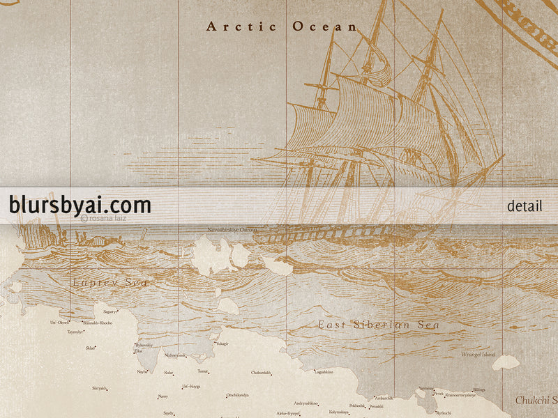 "Custom world map print - highly detailed, vintage looking current world map with sea monsters and sail ships. ""Mar"""