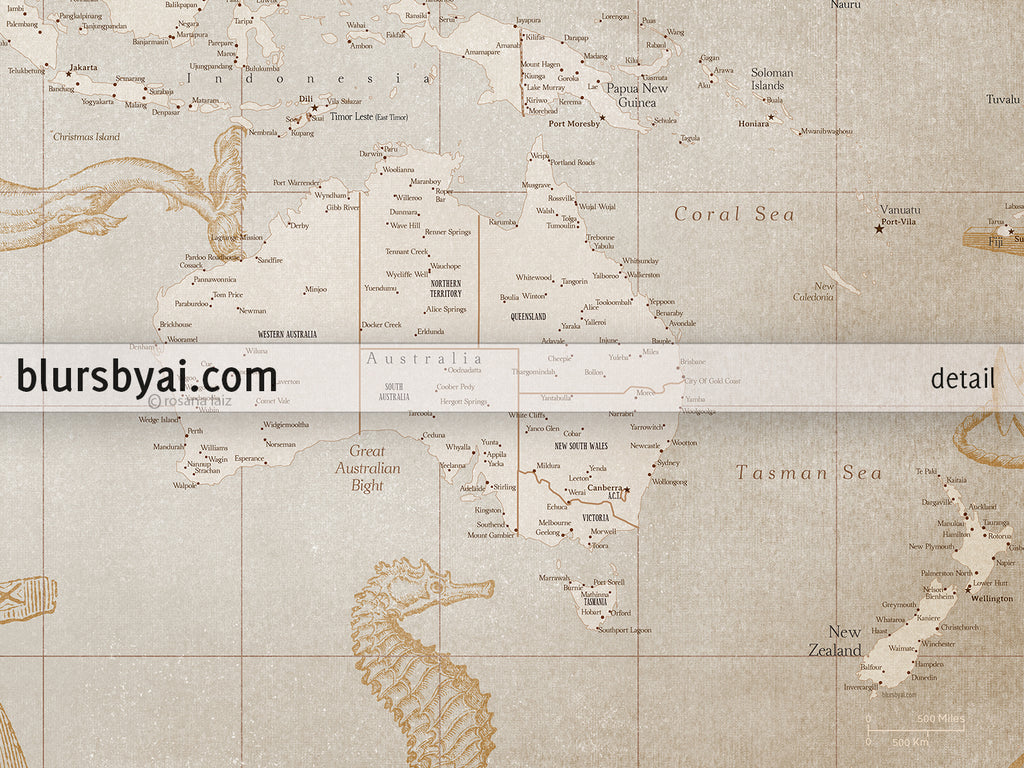 photograph relating to Vintage World Map Printable referred to as Custom made world wide map print - really thorough, traditional searching existing globe map with sea monsters and sail ships. \
