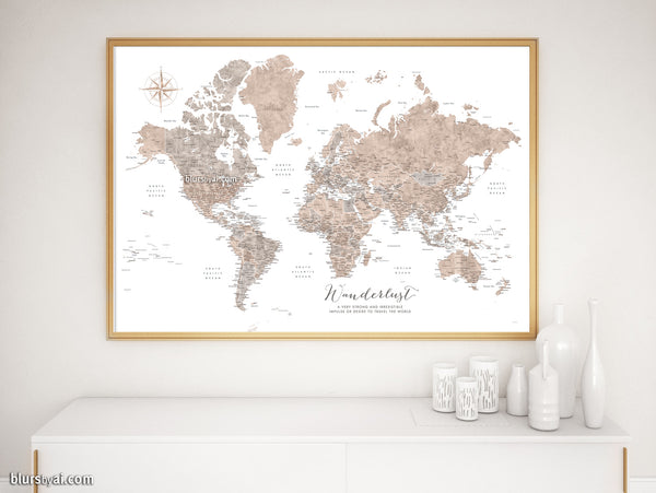 Wanderlust, PRINTABLE world map in neutral watercolor with US state capitals, cities, countries...
