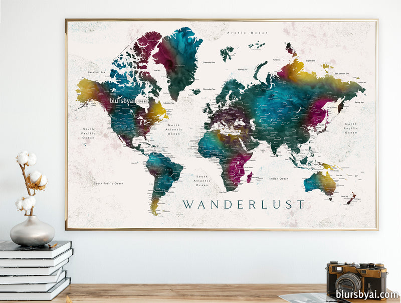 "60x40"" Printable world map with cities, Charleena, Wanderlust - For personal use only"