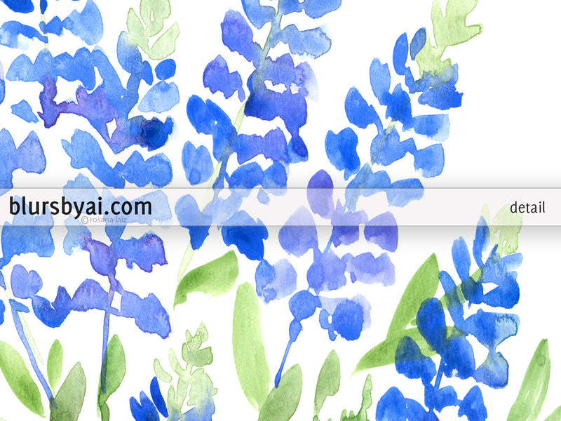 Printable watercolor illustration: Texas bluebonnets bouquet - Personal use