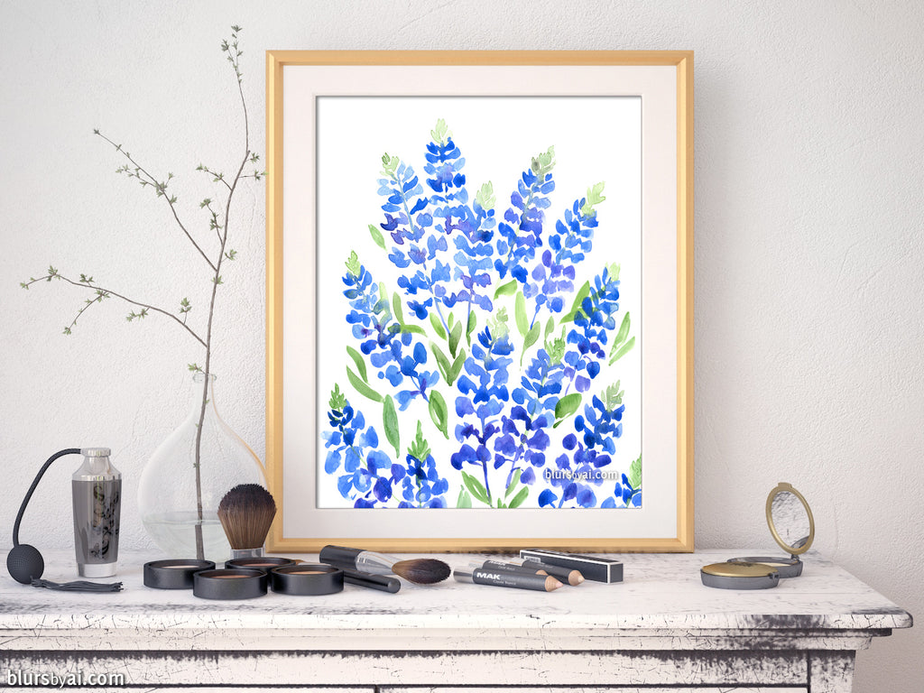 Printable watercolor illustration: Texas bluebonnets bouquet