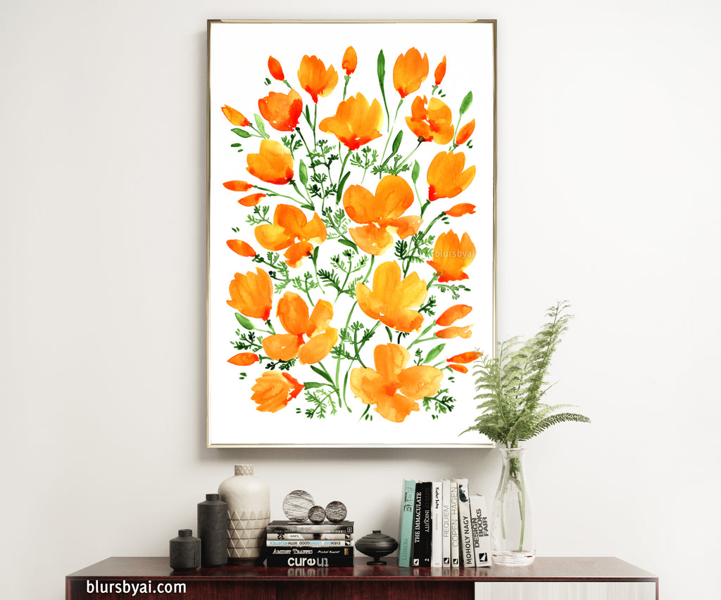 Printable watercolor illustration of California poppies