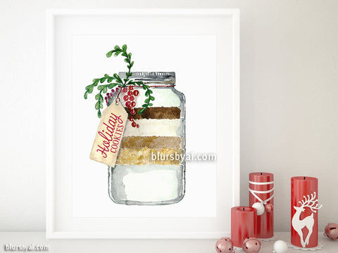 Printable holiday decoration: Holiday cookies in a jar watercolor illustration