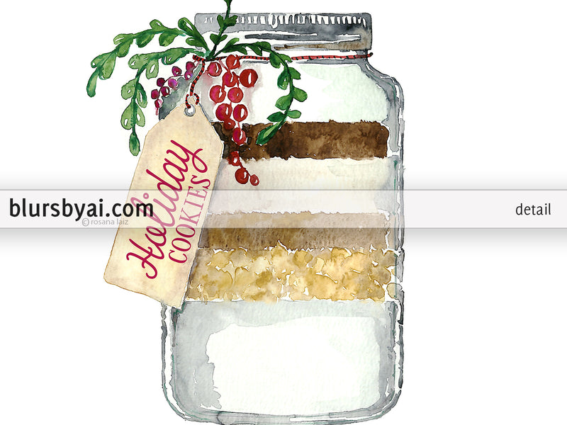 Printable holiday decoration: Holiday cookies in a jar watercolor illustration - Personal use