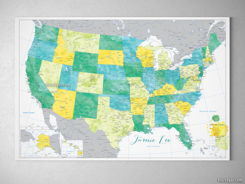 "Custom colorful USA map with cities, canvas print or push pin map. ""Aiden"""