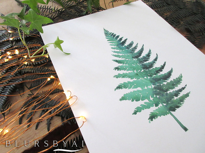 Printable fern watercolor illustration - Personal use