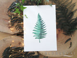Printable fern watercolor illustration