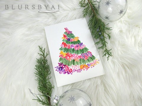 Printable holiday decoration: Floral Christmas tree watercolor illustration in white