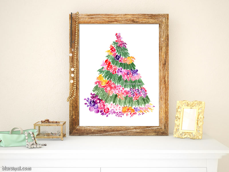 Printable holiday decoration: Floral Christmas tree watercolor illustration in white - Personal use