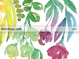 "Printable floral abstract watercolor ombre bouquet, ""Lindsay"""