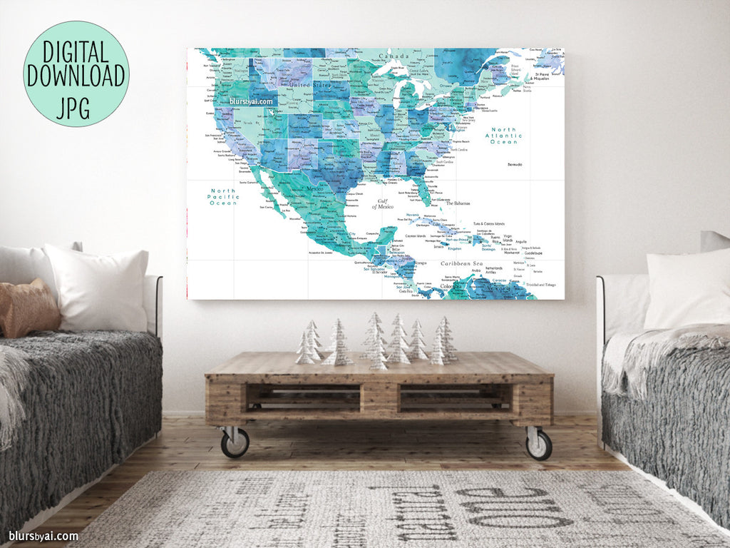 "Printable map of the USA, Mexico and the Caribbean Sea, in aquamarine watercolor, 36x24"" - For personal use only"