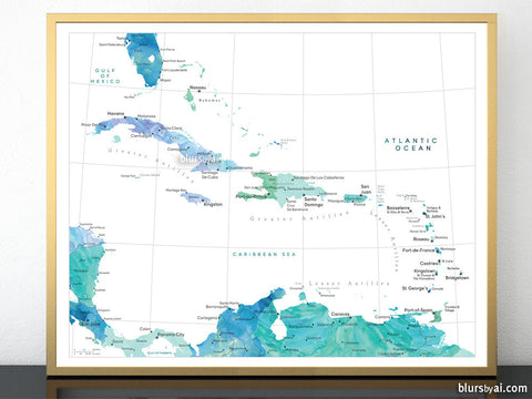 Maps of the Caribbean islands