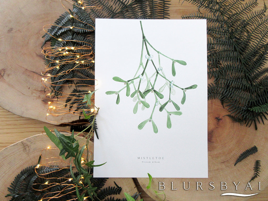 Printable mistletoe watercolor illustration - Personal use