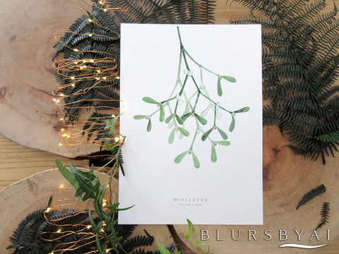 Printable mistletoe watercolor illustration