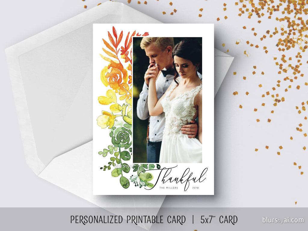 Custom printable Thanksgiving photo card with ombre watercolor bouquet