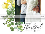 Personalized printable Thanksgiving photo card with ombre watercolor bouquet