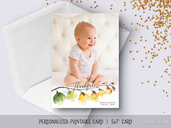 Personalized printable Thanksgiving photo card with watercolor flower branch