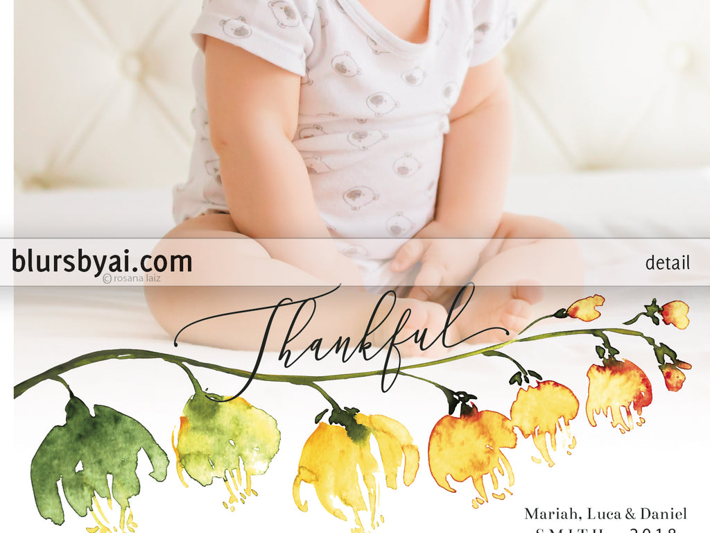 Custom printable Thanksgiving photo card with watercolor flower branch
