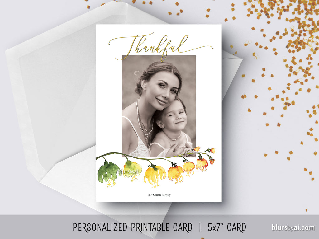 Custom printable Thanksgiving photo card with ombre watercolor flower branch