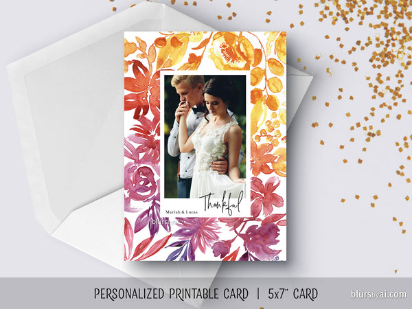 Personalized printable Thanksgiving photo card with ombre watercolor flowers frame