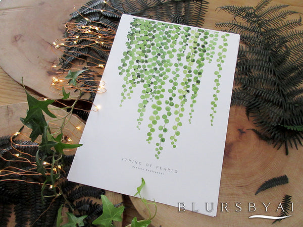 Printable string of pearls watercolor illustration