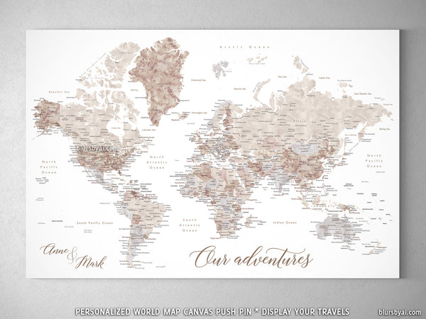 "Custom watercolor world map with cities, canvas print or push pin map. ""Abey """