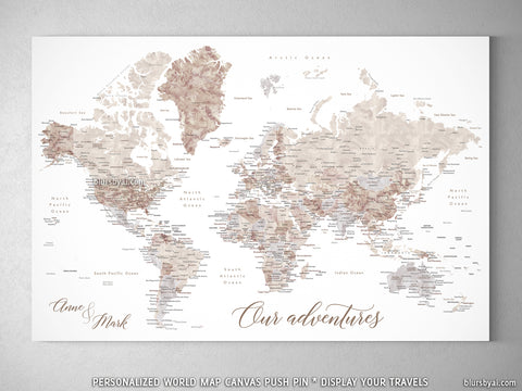 "Personalized watercolor world map with cities, canvas print or push pin map. ""Abey """