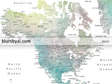 "Personalized world map with cities, canvas print or push pin map in muted green and brown watercolor. ""Oriole"""