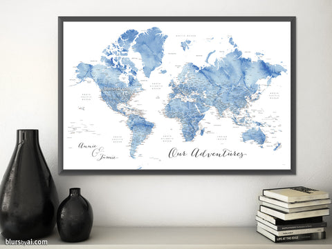 "Art print on paper: custom world map with state capitals, cities and countries in soft blue watercolor. ""Vance"""